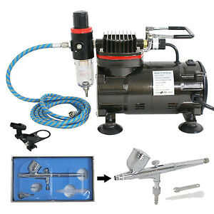 ABEST DUAL-ACTION Gravity feed AIRBRUSH SET KIT Tank Air Compressor Hobby Craft Art AS186K30
