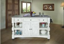 Greenview Rustic Farmhouse White Kitchen Island, Solid Wood