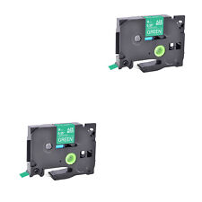 2pk Compatible Brother P Touch Tz 725 Tze 725 White On Green Label Tape 9mm