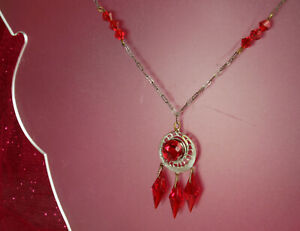 """Art Deco CZECH Necklace 1930s Signed RUBY RED CRYSTAL 16"""" Paperclip Chain FAB!"""
