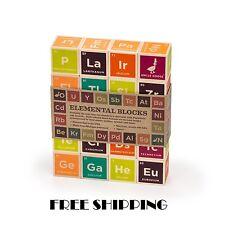 Periodic Table Building Blocks Educational Toys Kids Chemistry Set Wood Elements
