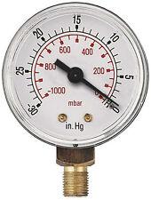 Vakuum Messgerät -0-1000mBar- 30 Hg Bspt Stecker Unten Verbindung 5 Variationen