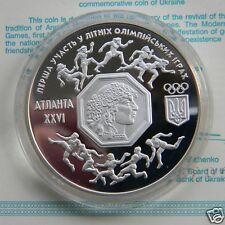 SUMMER OLYMPIC GAMES Ukraine Silver Proof 1 Oz Coin 2 Million 1996, Sport KM# 25