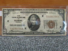 1929 $20 NATIONAL CURRENCY-FEDERAL RESERVE OF RICHMOND-HIGHER GRADE--FREE SHIP