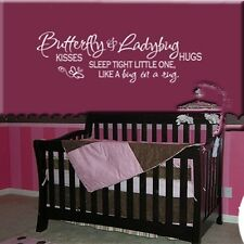 BUTTERFLY LADYBUG HUGS & KISSES VINYL WALL DECAL QUOTE LETTERING