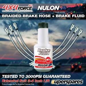 "6 F+R Braided Brake Hoses Nulon Fluid for Nissan Patrol GQ - GU 96-97 3""-4"" Lift"