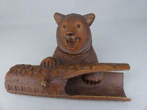 Fine Antique Black Forest Carved Wood Bear Inkwell and Log Penholder Zweisimmen