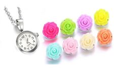 Round Pendant Necklace Watch 7 18mm Floral Resin Snaps Interchangeable Set