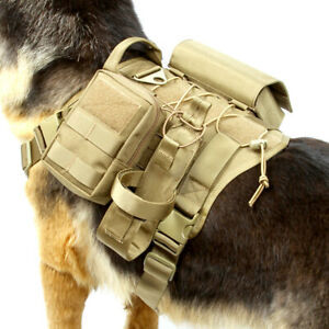Tactical Dog Harness Adjustable Molle K9 Training Coat Backpack with 3 Pouches