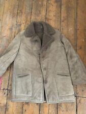 Vintage Brown Suede Shearling Teddy Coat Jacket Size M