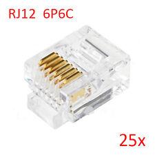 25pcs RJ12 6P6C Modular Plug Connector For RJ12 Telephone Line Cord,Gold-plated