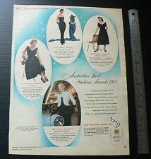 1955 vintage ad Australian Wool Fashion Awards old advertisement retro fashion