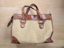 Vintage Hartmann leather and tan tweed large satchel tote luggage bag