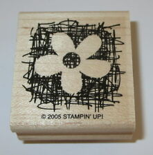 "Flower Rubber Stamp Made From Scratch Stampin Up Retired Wood Mounted 1 3/4"" H"