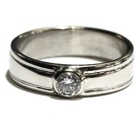 14k white gold .40ct VS1 I diamond mens bezel set wedding band ring 7.4g gents