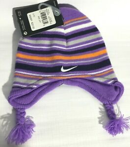 Nike Toddler 2-4T Beanie And Mittens 2 Pc Set Purple Striped