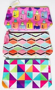 Lot (3) Clinique Geometic Bright Pink Colors Large Makeup / Cosmetic Bags