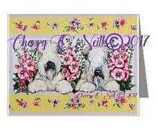 Wheaten Terrier NOTECARDS Wheaties and Hollyhocks Set of 10 BLANK