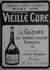 PUBLICITE VIEILLE CURE GLOIRE GRANDES LIQUEURS CENON BORDEAUX DE 1920 FRENCH AD