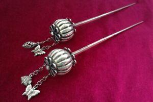 Classic tribal pure handmade miao silver hollow Pumpkin headgear hairpin 1piece