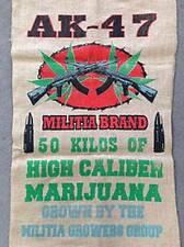 Ak-47 Brand Pot Leaf Marijuana Burlap Bag pot leaf hippie sack