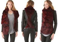 """Helmut Lang """"Flux"""" Rabbit Fur & Leather Coat Jacket Carmine Red Black P XS $1895"""