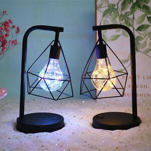 Retro Bedroom Bedside Table Lamp Desk Lights Black Geometric Industrial LED  UK