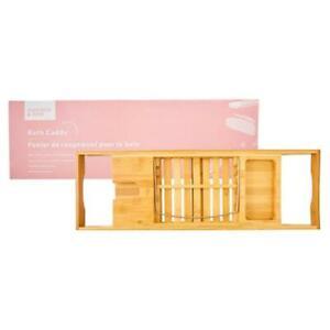 New Summer & Rose Expandable Freestanding Bamboo Bath Caddy Tray NIB Sealed