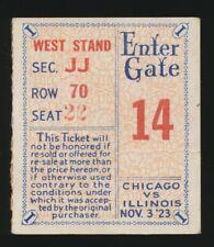 1923 (Nov 3) Chicago vs. ILLINOIS *FOOTBALL* Ticket Stub *RED GRANGE* Champions