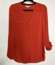Peacocks Shirt Blouse Top Size 12 Red Roll Tab Loose