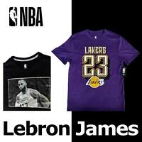"OFFICIAL LEBRON JAMES ""23"" NBA SHIRT PURPLE GOLD LOS ANGELES LAKERS BLACK MEDIUM"