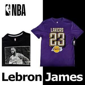 "OFFICIAL LEBRON JAMES ""23"" NBA SHIRT PURPLE GOLD LOS ANGELES LAKERS BLACK MEDIUM"