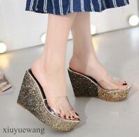 Womens Sequins High Platform Wedge Heel Open toe Clear Slippers Shoes Sandals SZ