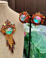 Vintage Juliana DeLizza Elster Dangle Rivoli Rhinestone Brooch Huge Earrings Set