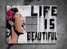 ACEO Banksy Life is Beatiful Graffiti Street Art Canvas Giclee Print
