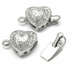 2 Silver Plated Heart Shape Box Clasps w/Cubic Zirconia Crystal Clear Rhinestone