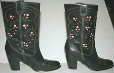 Beautiful Seychelles Western Cowboy Boots, Black Floral Leather Embroidered Sz 6