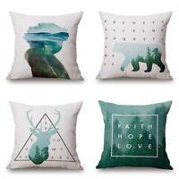 "18"" Home Cotton Car Bed Linen Waist Cushion Pillow Case Cover Geometric Designs"