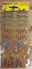 Safari Chipboard Sticker Cheetah Leopard Tiger Zebra Giraffe Zoo Animals