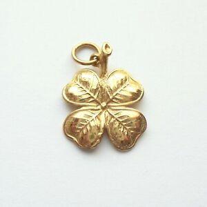 Shamrock Pendant Charm Gold 9ct Four Leaf Clover Good Luck Symbol Irish