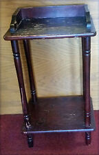 Antique Mahogany 2 Tiered Table Pedestal Telephone Plant Stand Spindle Legs