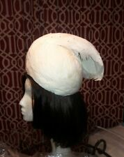 Jack McConnell Vintage Hat, Turban, Ivory white Feather and Rhinestone.