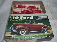 1/32 LINDBERG 1940 FORD CONVERTIBLE VINTAGE RED MODEL KIT-MIB!