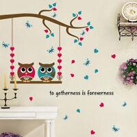 Wall Stickers Home Decor Cartoon Owl Birds Branch Removable Kids Decor MuralTDCA