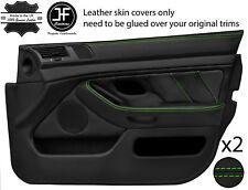 Green Stitch 2X Front Full porte carte en cuir couvre Fits BMW 5 Series E39 95-03