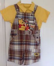 Disney Pooh Tigger Baby Boys Polo Shirts  and Dungarees Set Size:24 Months