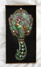 Stunning Enamelled and Jewelled Folding Mirror with Peacock Decoration - BNIB