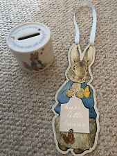 peter rabbit wedgewood money box and paper chase door hanger perfect condition