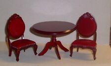 Tisch mit 2 Polsterstühlen in mahagoni -  Miniatur 1:12,  Puppenhaus