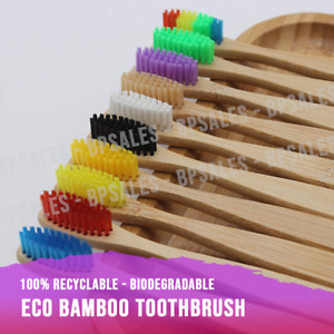 Eco Friendly Bamboo Toothbrush Natural Biodegradable Wood Soft Bristles Adult